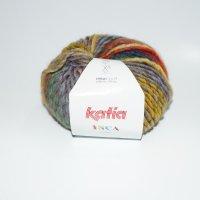 Katia Wolle der Sorte Inca in der Farbe Weiss-Blau-Neonorange-Gelb
