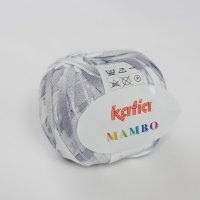 Katia Wolle der Sorte Mambo in der Farbe Weiß-Blaugrau